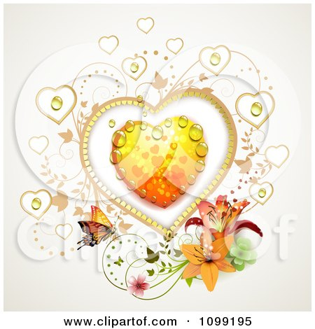 Clipart Dewy Orange Heart With Vines Lilies And A Butterfly - Royalty Free Vector Illustration by merlinul
