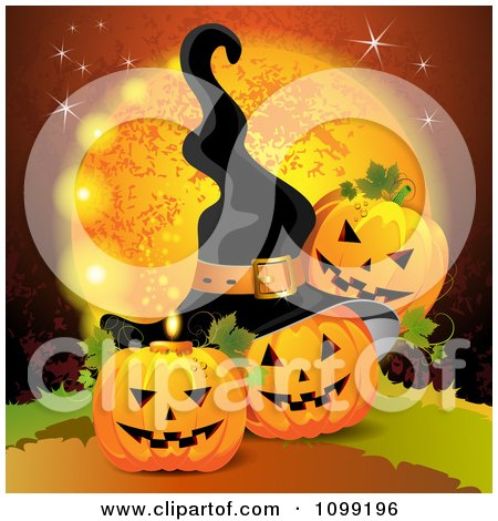 Clipart Three Halloween Jackolanterns Against A Full Moon With Bats And A Witch Hat - Royalty Free Vector Illustration by merlinul