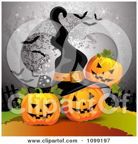 Clipart Three Halloween Jackolanterns With A Full Moon With Bats And A Witch Hat - Royalty Free Vector Illustration by merlinul