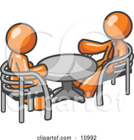 Two Orange Business Men Sitting Across From Eachother at a Table During a Meeting Clipart Illustration by Leo Blanchette