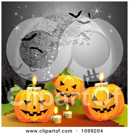 Clipart Halloween Jackolanterns With Candles Under A Full Moon With Bats - Royalty Free Vector Illustration by merlinul