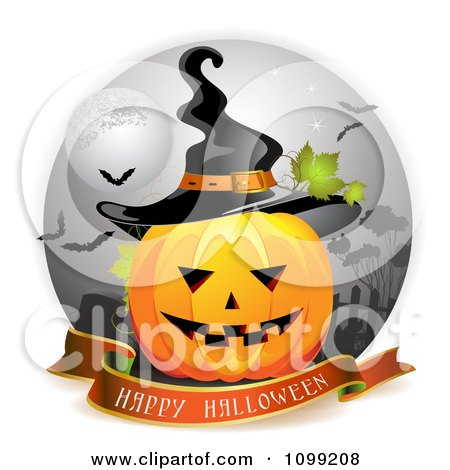 Clipart Happy Halloween Greeting Banner Under A Jackolantern In A Graveyard With A Witch Hat - Royalty Free Vector Illustration by merlinul