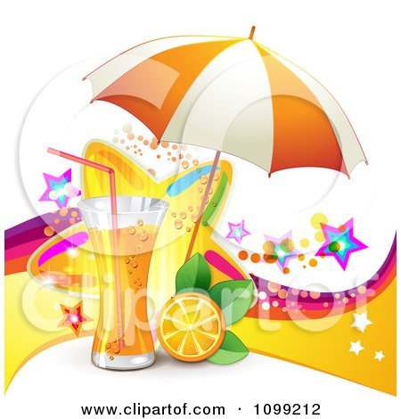Clipart Background Of Orange Juice Or Soda With An Umbrella Slice And Colorful Stars - Royalty Free Vector Illustration by merlinul