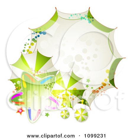Clipart Background Or Frame Of Green With Umbrellas And A Star - Royalty Free Vector Illustration by merlinul