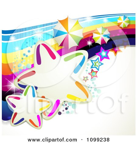 Clipart Rainbow Swoosh With Colorful Stars Umbrellas And Magic Sparkles - Royalty Free Vector Illustration by merlinul
