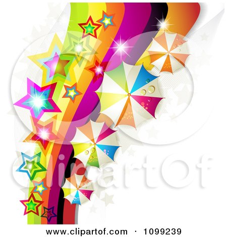 Clipart Rainbow Swoosh With Colorful Stars And Umbrellas - Royalty Free Vector Illustration by merlinul