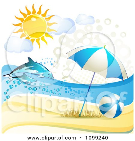 Clipart 3d Beach Umbrella And Ball With Leaping Dolphins Under The Summer Sun - Royalty Free Vector Illustration by merlinul