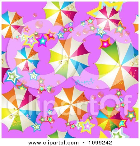 Clipart Seamless Background Pattern Of Colorful Umbrellas And Stars On Purple - Royalty Free Vector Illustration by merlinul