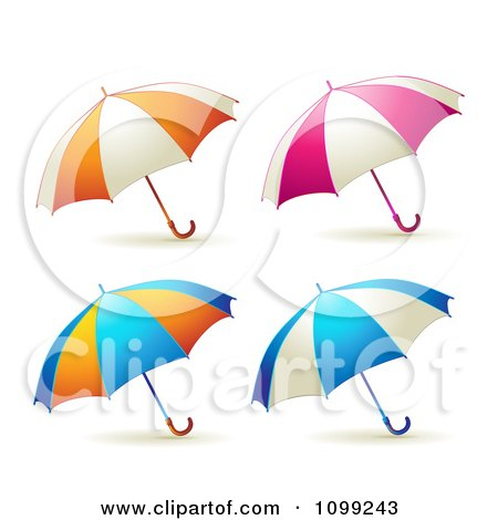 Clipart 3d Colorful Umbrella Parasols - Royalty Free Vector Illustration by merlinul