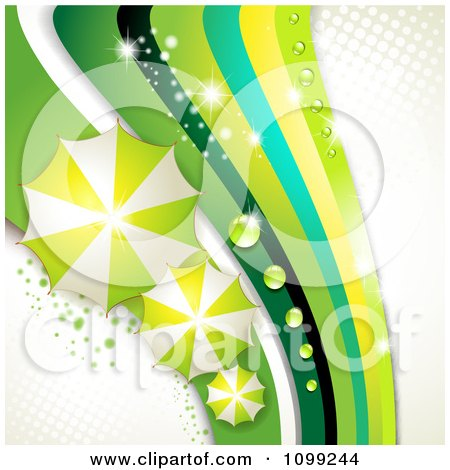 Clipart Background Of Green Umbrellas And Sparkly Waves With Dew On White And Halftone - Royalty Free Vector Illustration by merlinul
