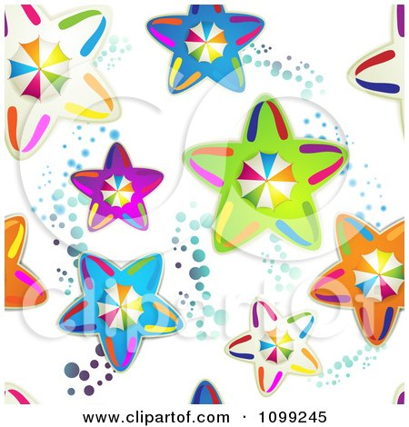 Clipart Seamless Background Pattern Of Colorful Umbrellas On Stars And Circles - Royalty Free Vector Illustration by merlinul