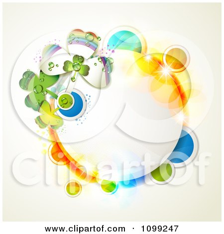 Clipart St Patricks Day Circular Frame With Shamrocks And Colorful Circles - Royalty Free Vector Illustration by merlinul
