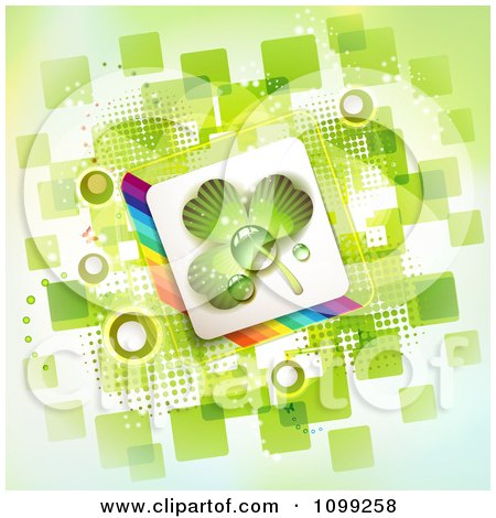 Clipart St Patricks Day Background Of A Dewy Shamrock In A Rainbow Square Over Green Squares - Royalty Free Vector Illustration by merlinul