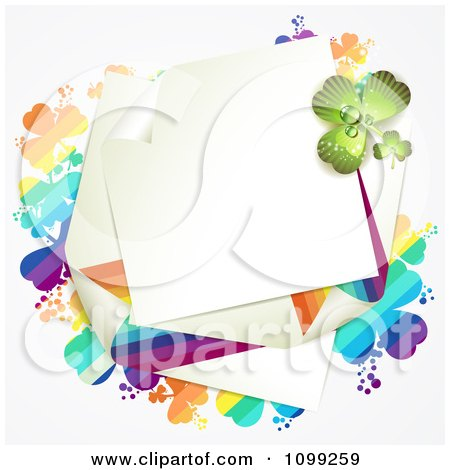 Clipart St Patricks Day Note With Rainbow And Green Shamrocks - Royalty Free Vector Illustration by merlinul