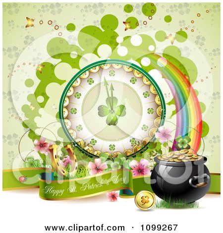 Clipart Happy St Patricks Day Greeting With A Pot Of Gold Rainbow And Shamrock Clock - Royalty Free Vector Illustration by merlinul
