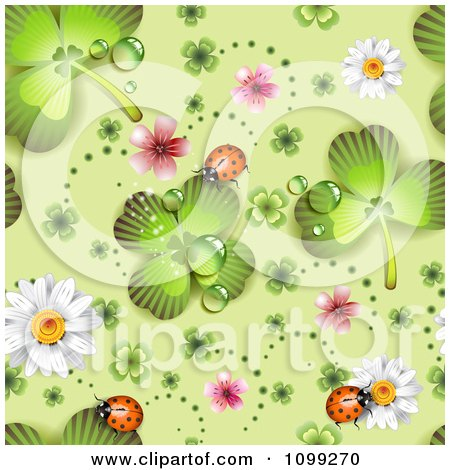 Clipart Seamless St Patricks Day Background Pattern Of Shamrocks Ladybugs Blossoms And Daisies - Royalty Free Vector Illustration by merlinul