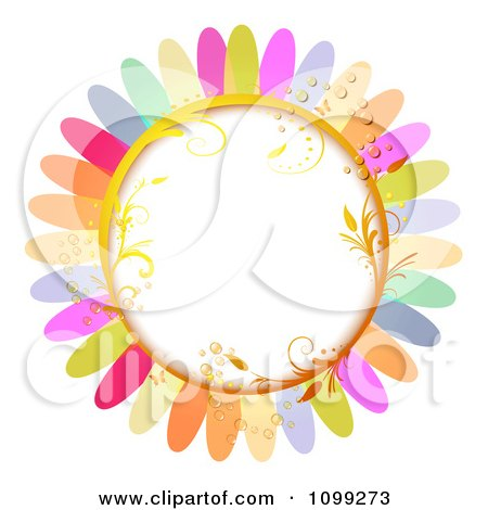 Clipart Background Of A Golden Vine Frame With Butterflies Dew And Colorful Flower Petals - Royalty Free Vector Illustration by merlinul