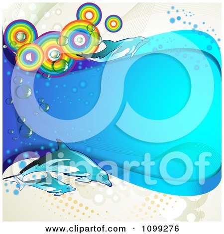 Clipart Background Of Dolphins With Rainbow Circles And A Blue Wave Over Dots - Royalty Free Vector Illustration by merlinul