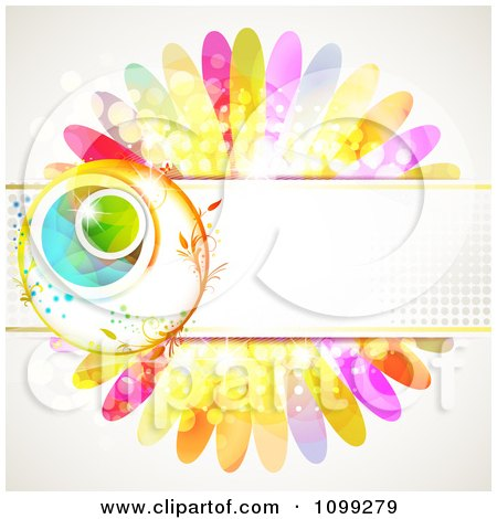 Clipart Background Of A Floral Sphere With A Haltone Banner Over Colorful Flower Petals - Royalty Free Vector Illustration by merlinul