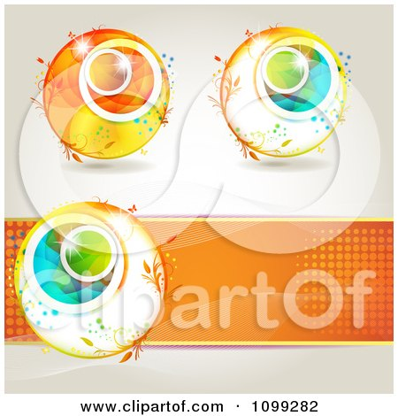 Clipart Three Spring Floral Orbs And An Orange Halftone Banne - Royalty Free Vector Illustration by merlinul