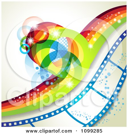 Clipart Rainbow Wave With Flares Over A Blue Film Strip With Bubbles - Royalty Free Vector Illustration by merlinul