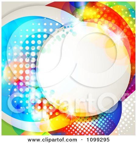 Clipart Background Of A Circular Frame With Dots Over Colorful Circles - Royalty Free Vector Illustration by merlinul