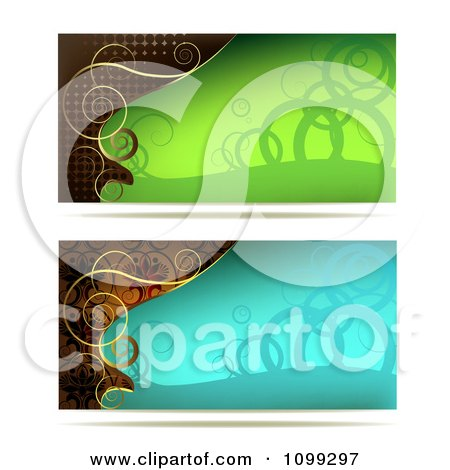 Clipart Two Green Blue And Gold Swirl Website Banners - Royalty Free Vector Illustration by merlinul
