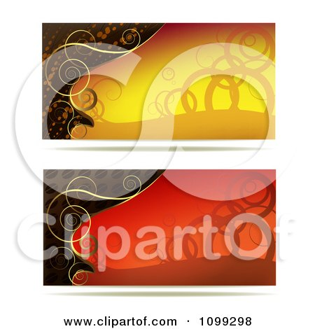 Clipart Two Yellow Red And Gold Swirl Website Banners - Royalty Free Vector Illustration by merlinul