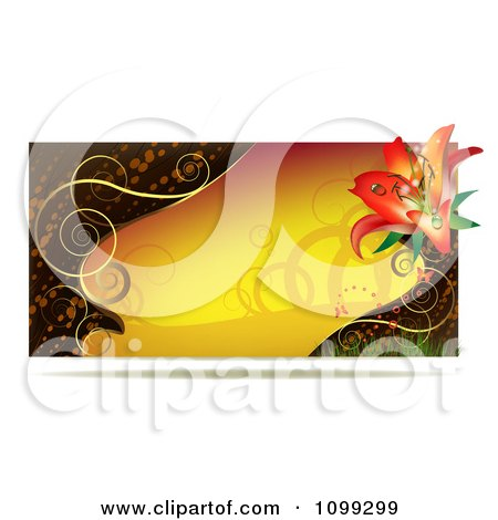 Clipart Yellow Lily Website Banner With Gold Swirls - Royalty Free Vector Illustration by merlinul