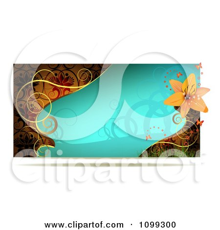 Clipart Turquoise Lily Website Banner With Gold Swirls - Royalty Free Vector Illustration by merlinul