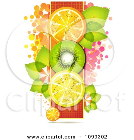 Clipart Vertical Row Of Orange Kiwi And Lemon Slices With Dots Leaves And Umbrellas - Royalty Free Vector Illustration by merlinul