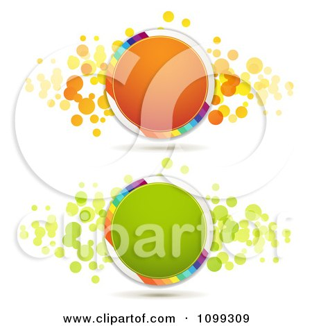 Clipart Orange And Green Circles With Rainbow Stripes And Dots - Royalty Free Vector Illustration by merlinul