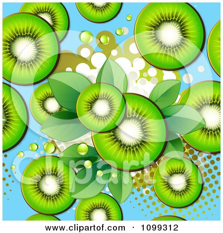 Clipart Seamless Background Of Kiwi Slices Over Blue With Halftone And Leaves - Royalty Free Vector Illustration by merlinul