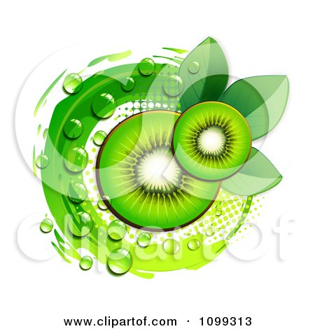 Clipart Background Of Kiwi Slices Over A Green Circle With Halftone And Dew - Royalty Free Vector Illustration by merlinul