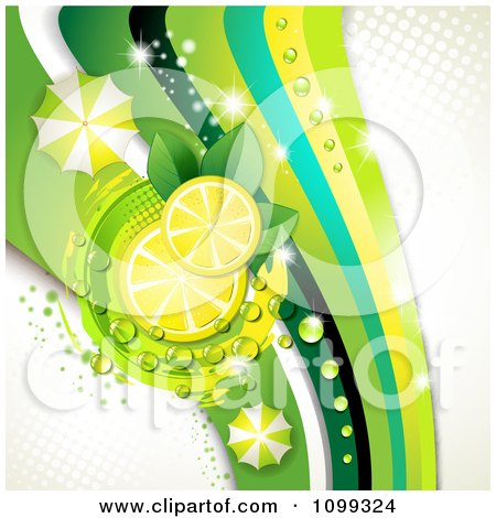 Clipart Background Of Lemon Slices With Dew Leaves Umbrellas And Green Waves With Gray Halftone - Royalty Free Vector Illustration by merlinul