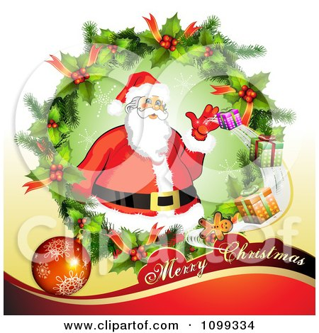 Clipart Merry Christmas Greeting With Santa In A Holly Wreath - Royalty Free Vector Illustration by merlinul