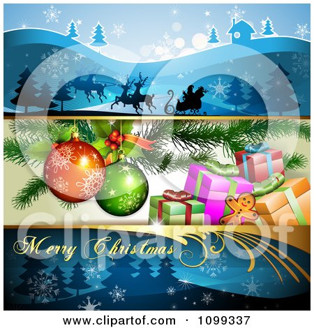 Clipart Three Christmas Banners Of Santa And His Sleigh Presents Under The Tree And A Greeting - Royalty Free Vector Illustration by merlinul