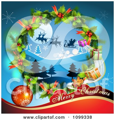 Clipart Merry Christmas Greeting With Santa Flying His Sleigh In A Wreath - Royalty Free Vector Illustration by merlinul