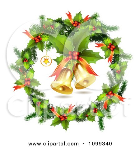 Clipart 3d Holly Christmas Wreath With Jingle Bells - Royalty Free Vector Illustration by merlinul