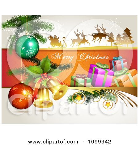 Clipart Merry Christmas Greeting With Santa Flying His Sleigh 3d Bells Gifts And Baubles - Royalty Free Vector Illustration by merlinul