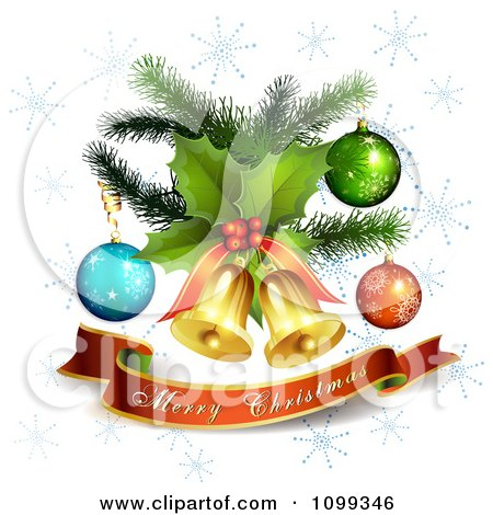 Clipart Merry Christmas Banner Under 3d Jingle Bells Holly And Ornaments With Snowflakes - Royalty Free Vector Illustration by merlinul