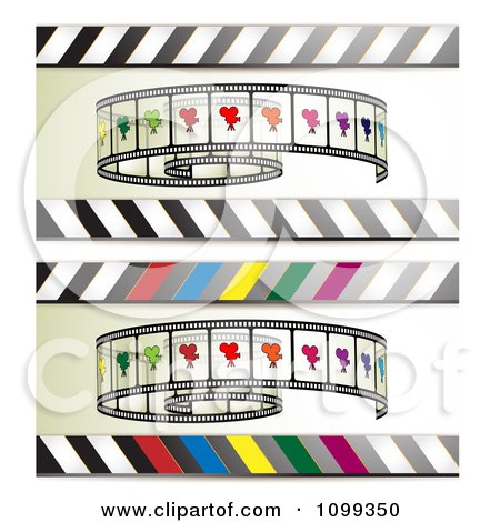 Clipart Banners Of Film Rolls And Stripes - Royalty Free Vector Illustration by merlinul