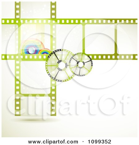 Clipart Green Film Frames With Rainbows And Reels - Royalty Free Vector Illustration by merlinul