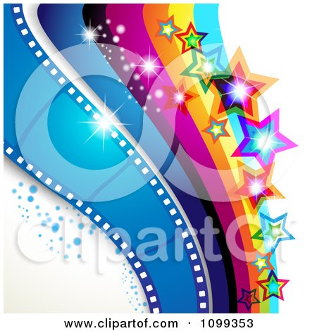 Clipart Photography Background Of Blue Film Frames Rainbow Waves Sparkles And Stars - Royalty Free Vector Illustration by merlinul