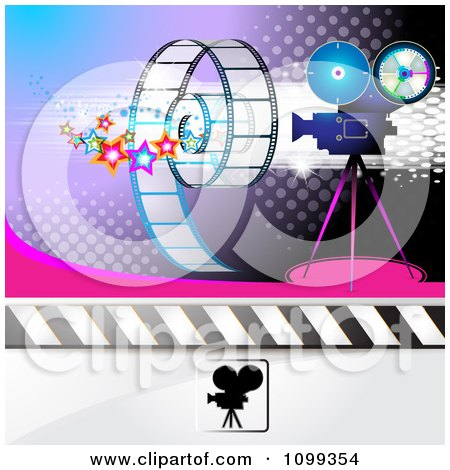 Clipart Filming Movie Camera With Film Over Purple With Halftone 2 - Royalty Free Vector Illustration by merlinul