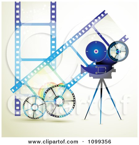 Clipart Blue Movie Camera Filming Over Negative Film Strips And Reels - Royalty Free Vector Illustration by merlinul