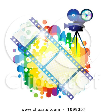 Clipart Blue Movie Camera Filming Over Negative Film Strips And Rainbow Splatter - Royalty Free Vector Illustration by merlinul