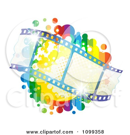 Clipart Waving Film Strip Over A Rainbow Splatter - Royalty Free Vector Illustration by merlinul