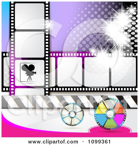 Clipart Silhouetted Movie Camera With Film Reels And Strips And Purple Halftone - Royalty Free Vector Illustration by merlinul