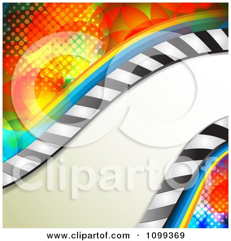 Clipart Wave Of Stripes Over Colorful Halftone - Royalty Free Vector Illustration by merlinul